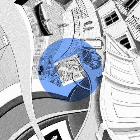 Centre of Lenstra and de Smit's version of Escher's Print Gallery