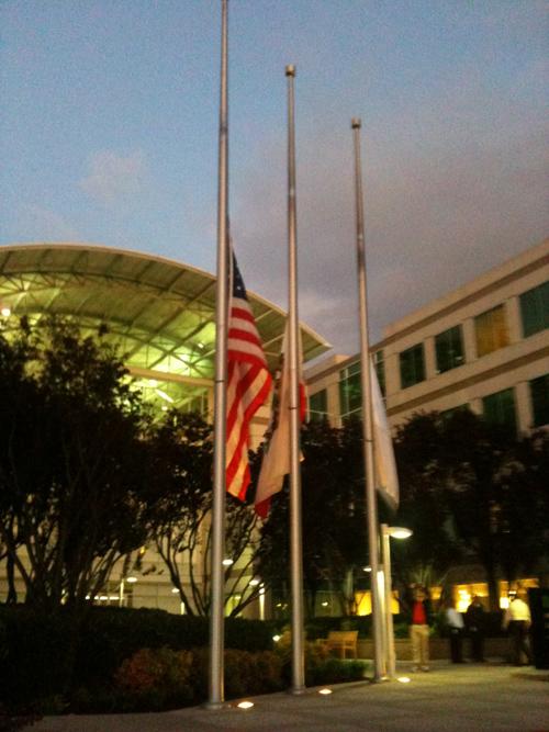 Apple's flags at half-mast for Steve Jobs